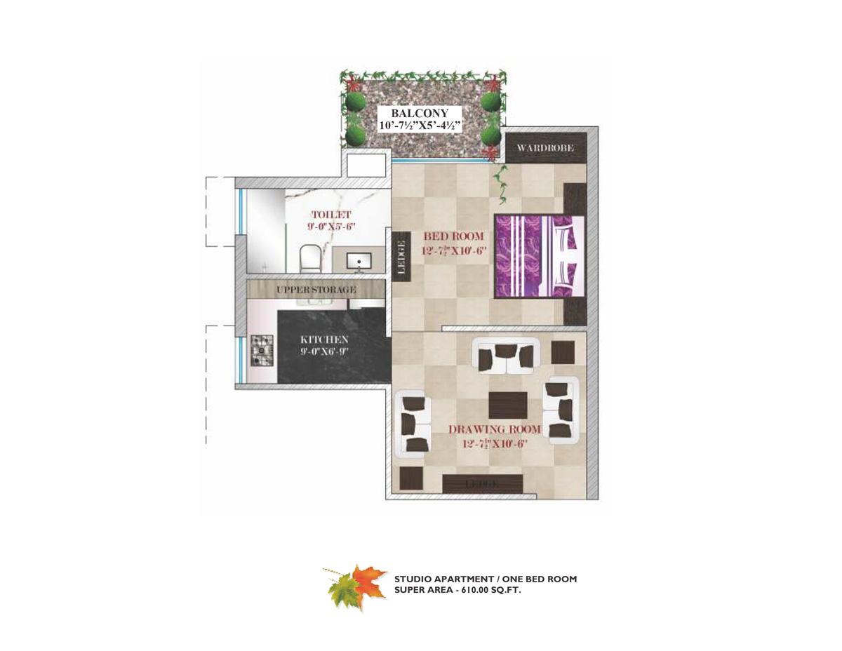 1 Bedroom Studio Apartment 610 Sq. Ft.