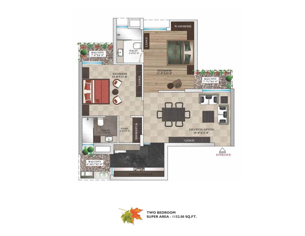 Maya garden city 1bhk 2bhk 3bhk 4bhk 5 bhk 6 bhk ready for 1 bhk flat floor plan